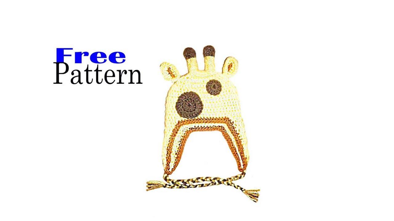 Giraffe hat, beanie, crochet, free pattern - YouTube