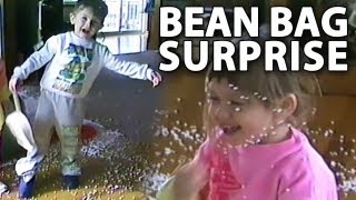 Curious Kid Opens A Bean Bag Chair!