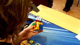 Rubik's cube one-handed former world record: 9.53s