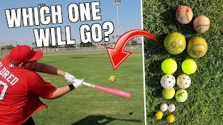 Is It Possible To Hit A DINGER With WEIRD Baseballs? IRL Baseball Challenge