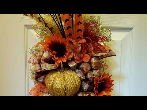 FALL SWAG WREATH USING WIRE HANGER | DIY DOLLAR TREE CRAFTS | AUTUMN HARVEST