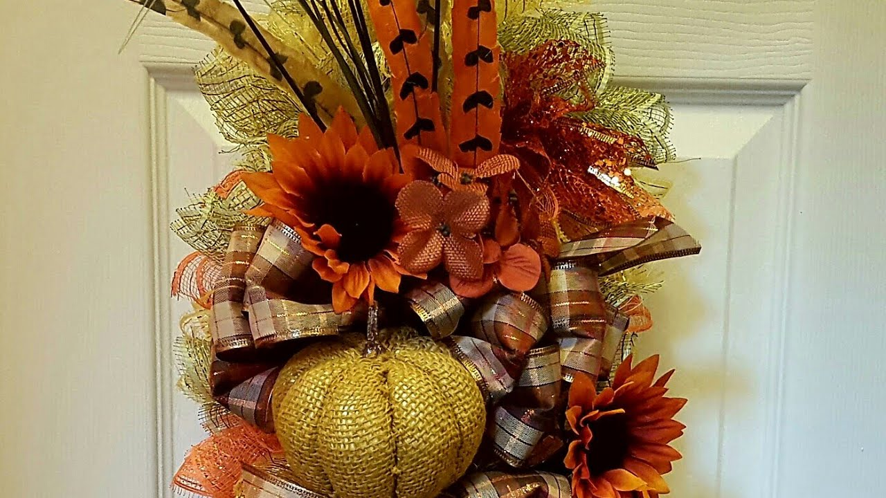FALL SWAG WREATH USING WIRE HANGER