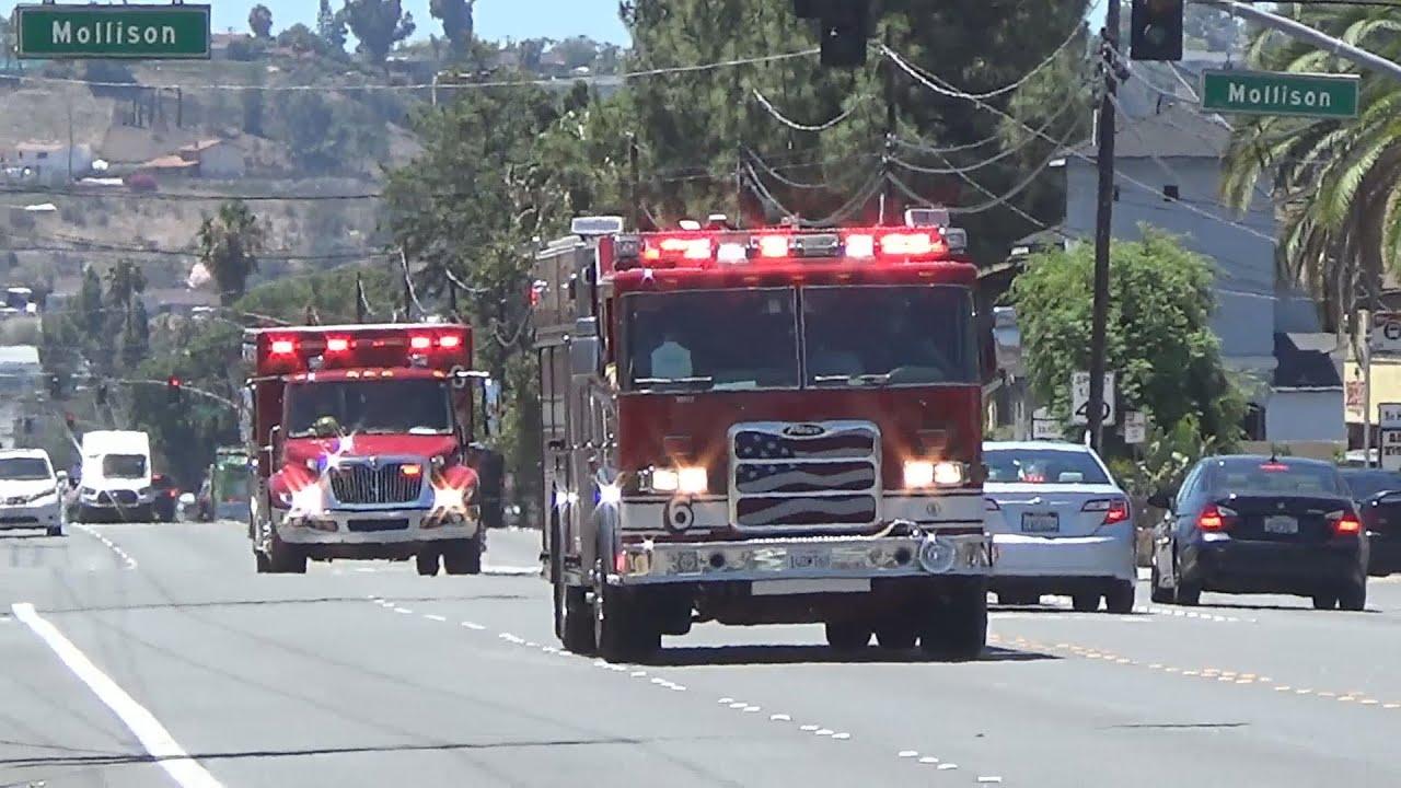 El Cajon Fire Department E6 M6 Responding Youtube