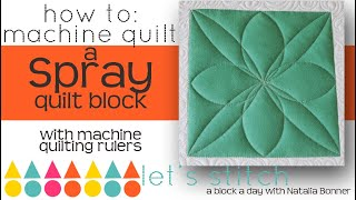 How To-Machine Quilt a Spray Quilt Block- With Natalia Bonner- Lets Stitch a Block a Day- Day 46