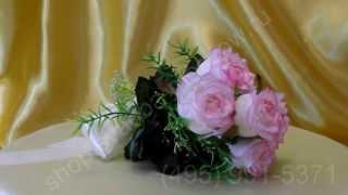 Свадебный букет-дублёр из розовых роз с лентой цвета айвори №33
