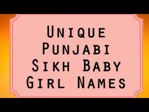 2017 Unique Punjabi Sikh Baby Names Youtube