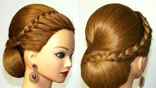 Прическа на средние волосы с косой. Свадебная, вечерняя, на выпускной(, 2015-06-07T13:34:02.000Z)