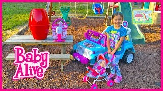 Baby Alive Doll & Animal Babies w/ Giant Egg Surprise and Frozen Elsa Ride On Toy Car