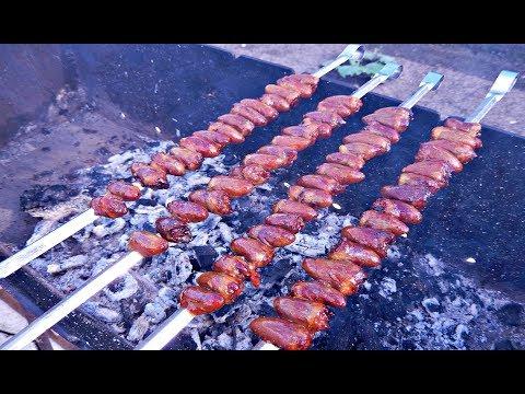 Как приготовить сердечки куриные на мангале