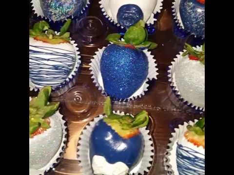Princess Pound Cakes blue white and silver chocolate dipped strawberries