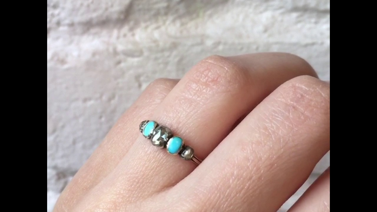Erica Weiner 19th Century French Diamond and Turquoise Five Stone ...