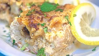 Рыбные рулетики из филе тилапии с овощами в сливках, запеченные в духовке (рецепт)
