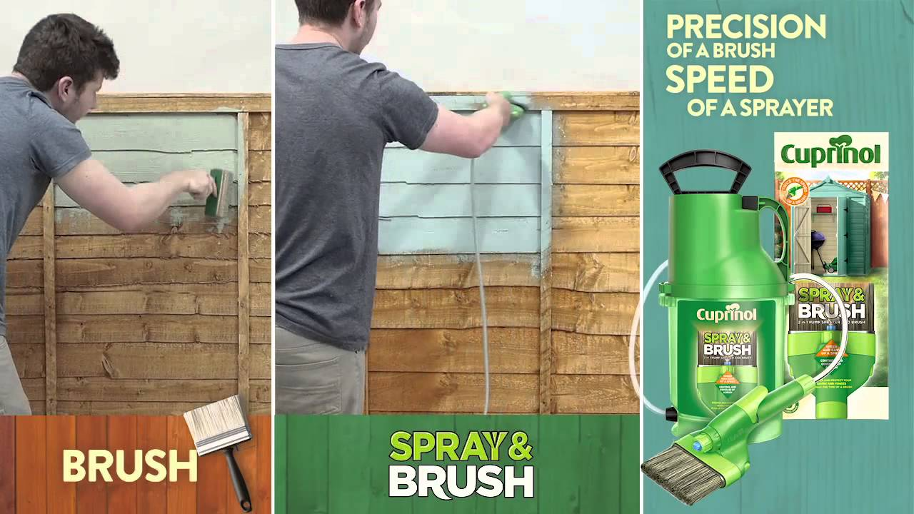 cuprinol spray brush painting demo youtube. Black Bedroom Furniture Sets. Home Design Ideas