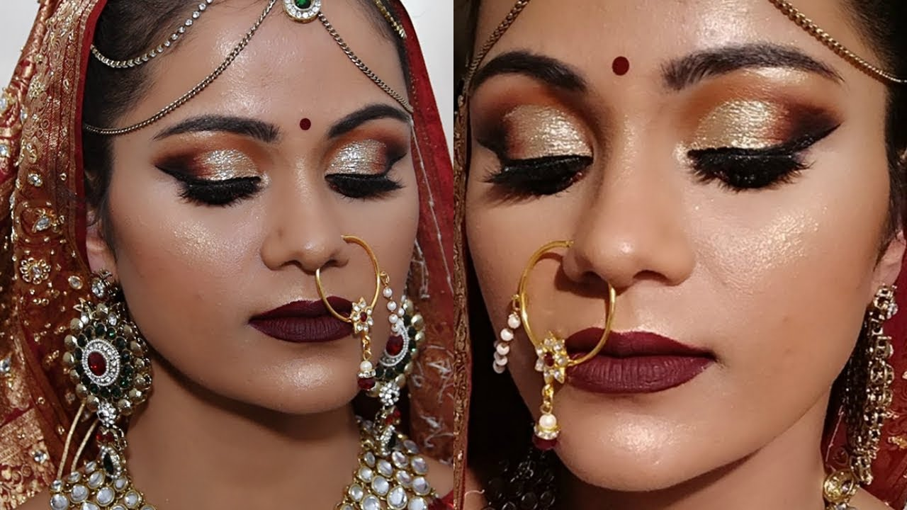 Indian BRIDAL MAKEUP Tutorial For Dark Skin In HINDI साँवले ...