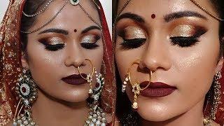 Indian BRIDAL MAKEUP Tutorial For Dark Skin In HINDI साँवले रंग के लिए ब्राइडल मेकअप