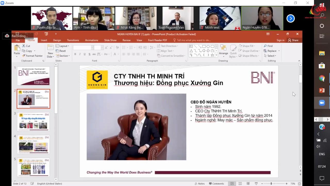 Bài đào tạo 8 phút CEO Ngân Huyền thương hiệu Đồng Phục Xưởng GIN   BNI FLIGHT Chapter 24/4/2020
