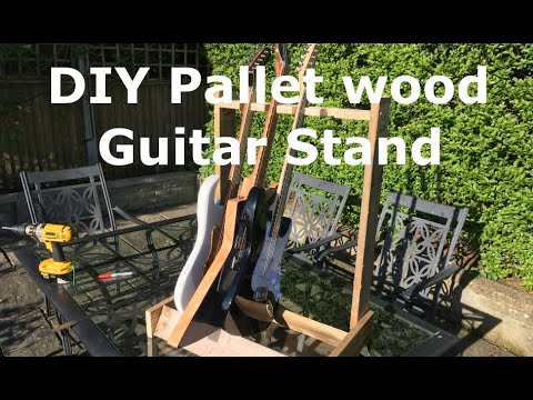 DIY reclaimed pallet wood guitar stand