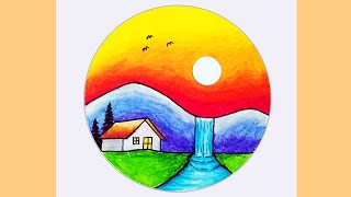 Easy Scenery Drawing | How to Draw Scenery of Sunset and Waterfall #Shorts