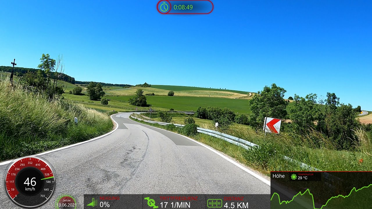 1 hour Fat Burning Virtual Cycling Workout with Cadence and Speed Display 4K