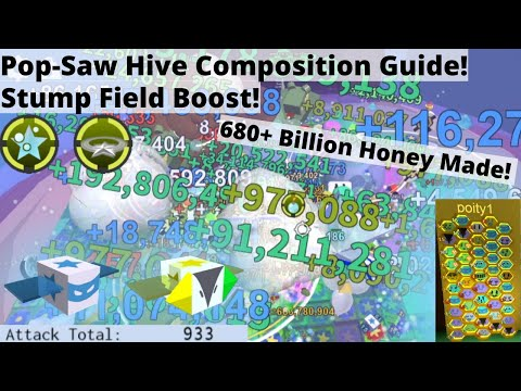 Blue Hive with Pop-Saw Composition Guide + 680 Billion in One Boost! - Roblox Bee Swarm Simulator