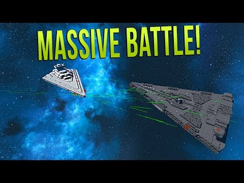 FIRST ORDER DREADNOUGHT vs STAR DESTROYER! - STAR WARS Epic Battle   Space Engineers