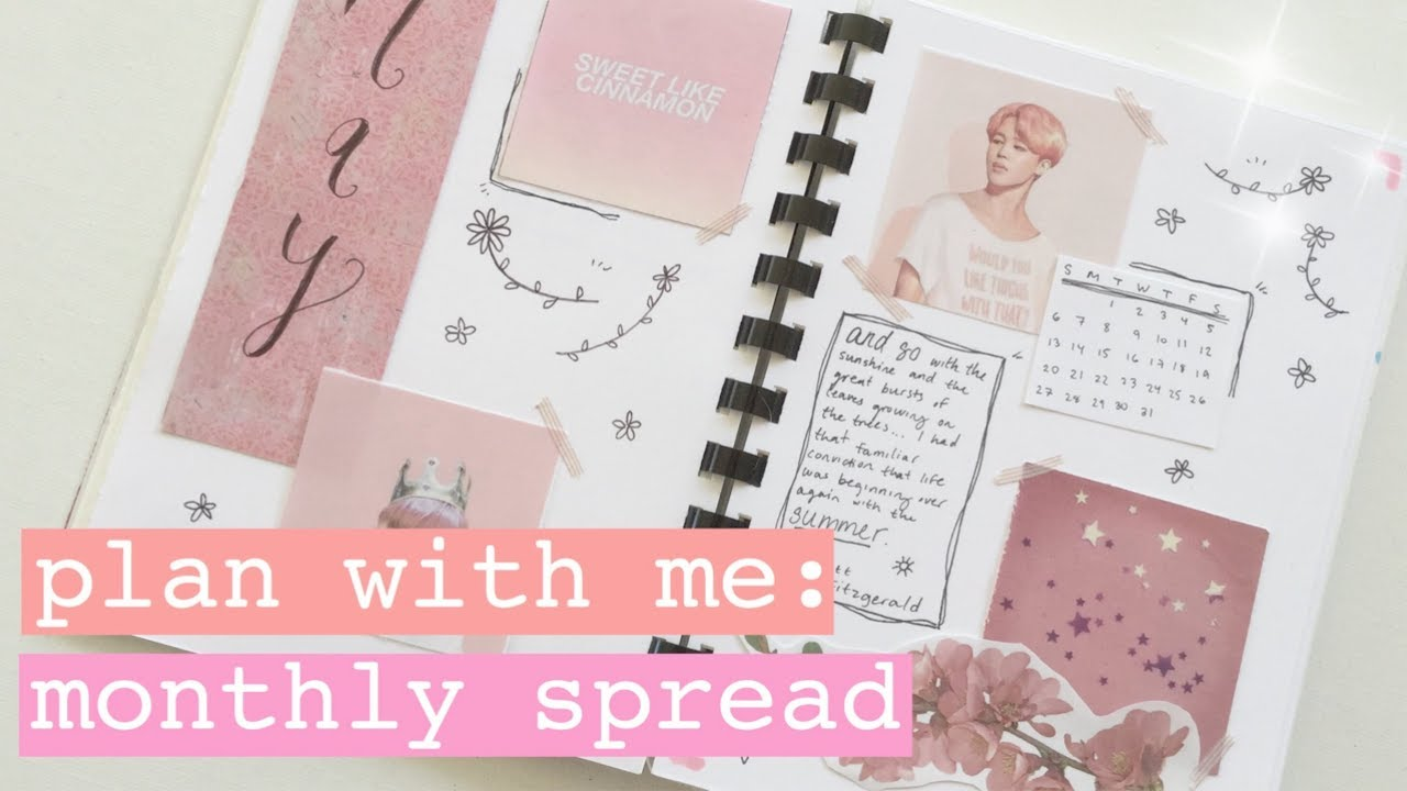 ✩ MY FIRST BULLET JOURNAL // plan with me: kpop bullet journal monthly  spread (bts)// may 2018 ✩