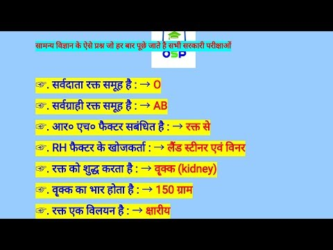 Science gk most imp 100 Questions for all gov exams/ must watch/SSC CHSL 2017 MP PATWARI