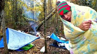 $50 Sub Freezing Camping Challenge - Clothes-Food-Shelter
