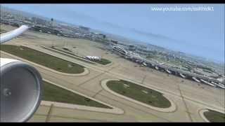 Korean air 032 KDFW(Dallas fort worth) rainy takeoff,fsx,pmdg 777