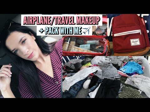 PACK WITH ME + AIRPLANE/TRAVELING MAKEUP