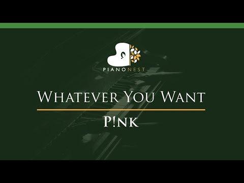 Pink - Whatever You Want - LOWER Key (Piano Karaoke / Sing Along)