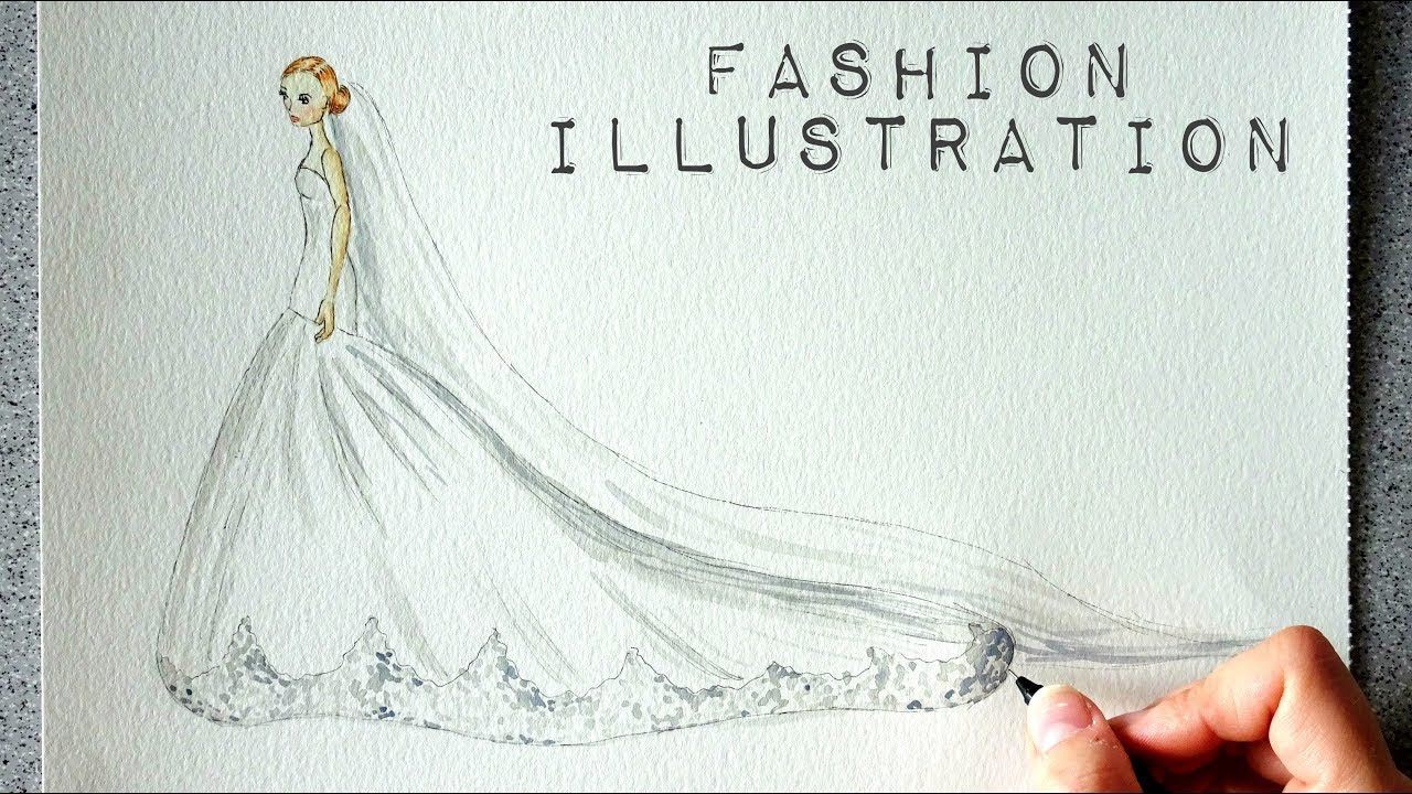 Fashion Illustration In Watercolor Wedding Dress February Challenge Youtube
