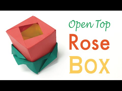 Origami Paper Open Top Rose Flower Gift Box Diy Origami Kawaii