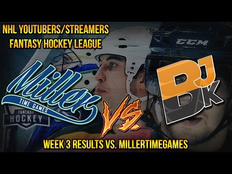 NHL Youtubers/Streamers Fantasy Hockey League – Week 3 Results vs. MillerTimeGames