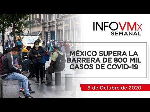 MÉXICO SUPERA LA BARRERA DE 800 MIL CASOS DE COVID 19 ; INFOVMx a 9 de Octubre, 2020