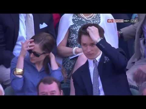 Eddie Redmayne at Wimbledon 2014 Semi Final Safarova - Kvitova