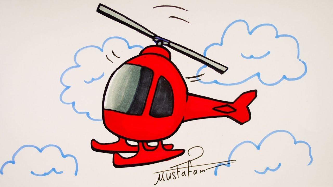 رسم طائرة هليكوبتر تعليم 7