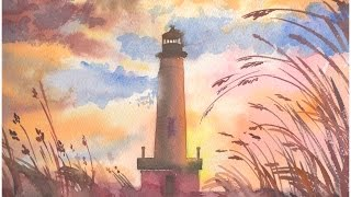 DIY HOW TO Speed painting Landscape Watercolor  Painting Online art courses / artist Jarova / Sunset