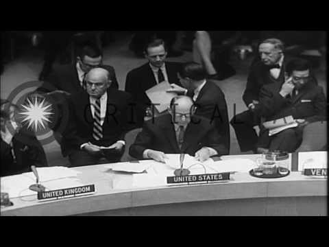Adlai Stevenson appeals to the UN during the Cuban Missile Crisis, 1962
