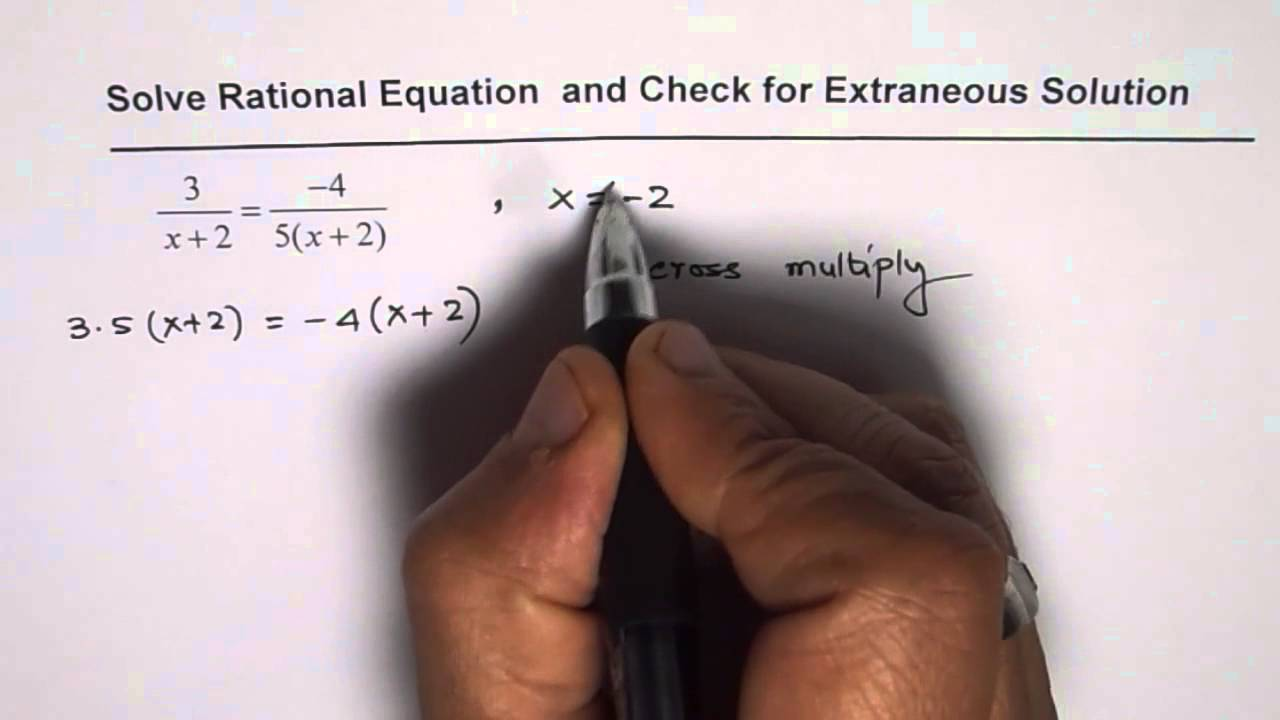 Solve rational equation and check for extraneous solution youtube robcynllc Image collections