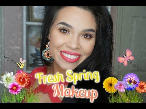 Fresh Spring Makeup Look ♡  Vibrant Yellow Shimmer & Bold Lips | Samantha-Jo