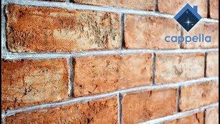 Декор под состаренный кирпич. Штамповка кирпича на стене. Покраска кирпича. Штамп Cappella