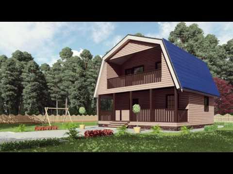 Проект каркасного дома 8*8метров с мансардой, крыльцом, балконом и ломанной крышей. Строй и Живи