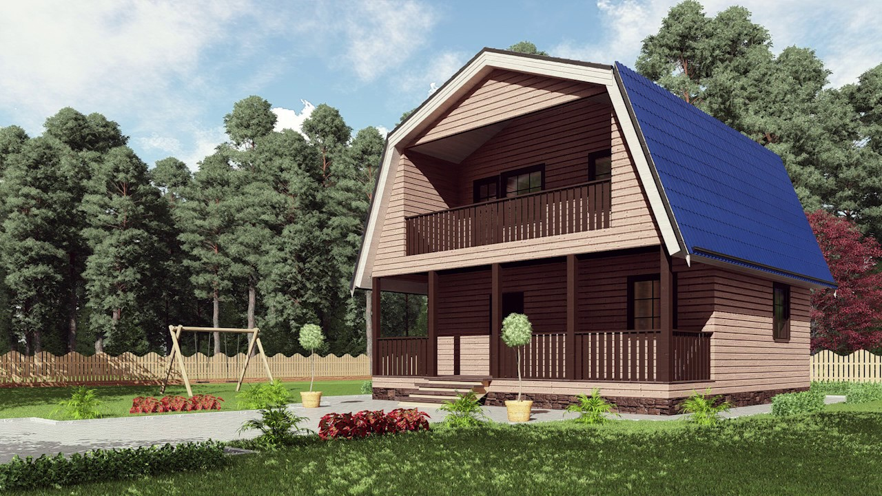 Проект каркасного дома 8*8метров с мансардой, крыльцом, балк.
