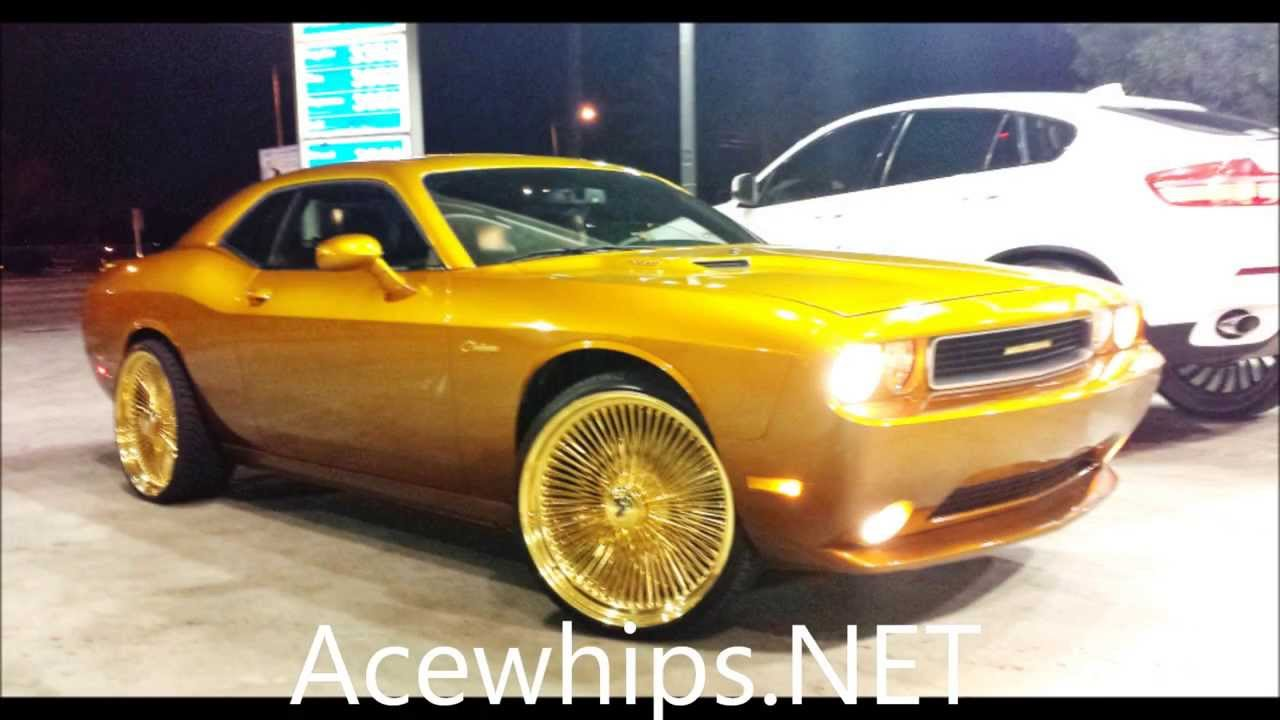 Acewhips Net Candy Gold Dodge Challenger On 24 Gold Dayton Rims