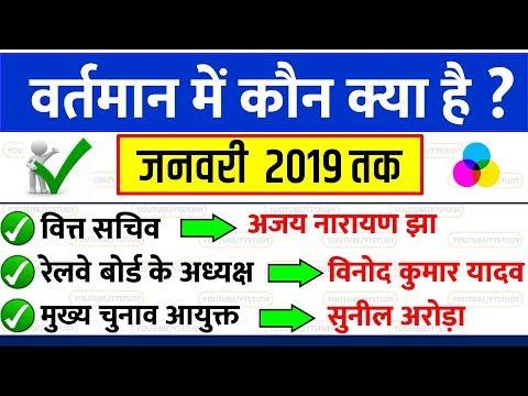 वर्तमान में कौन क्या है | bharat me wartman me kon kya hai | jan 2019 current affairs gk in hindi