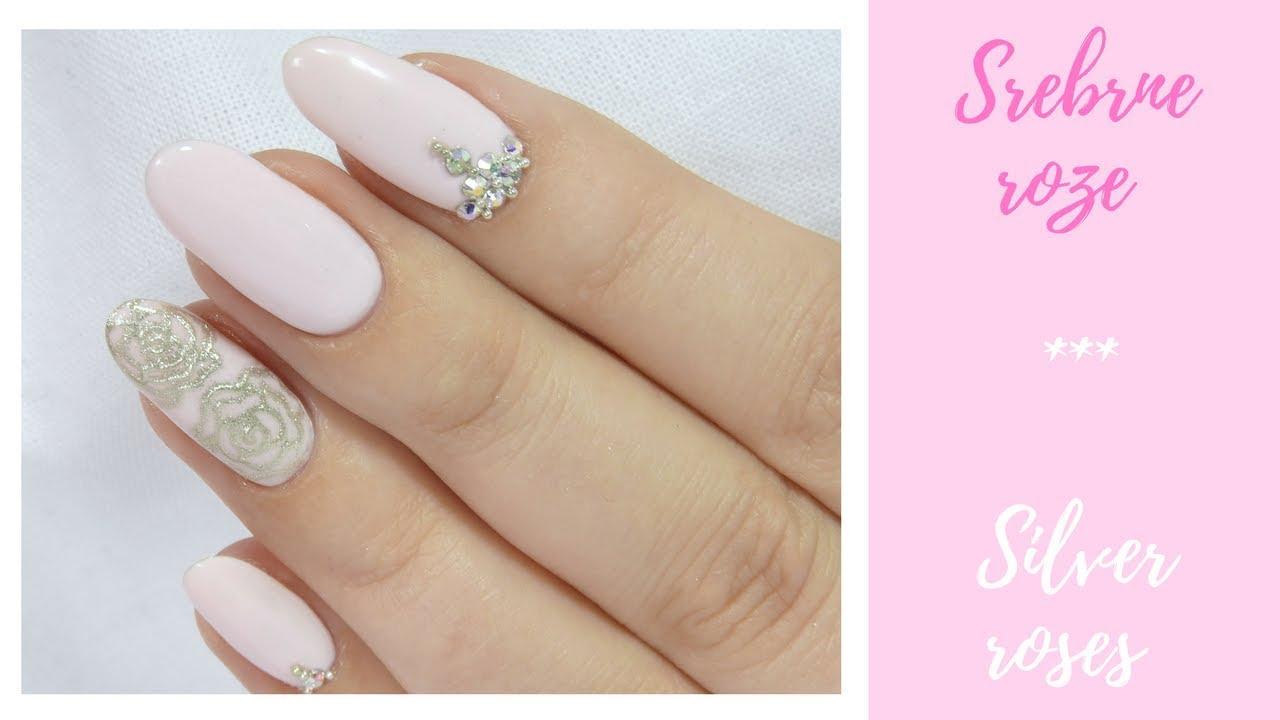 Slubne Zdobienie Srebrne Roze Wedding Nail Art Silver Roses