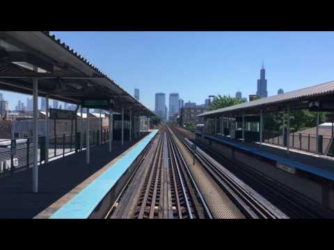Leaving Chicago downtown by CTA green line train 4K