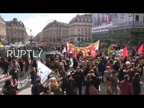 LIVE: French unions protest in Paris as National Assembly holds debate on pension reforms