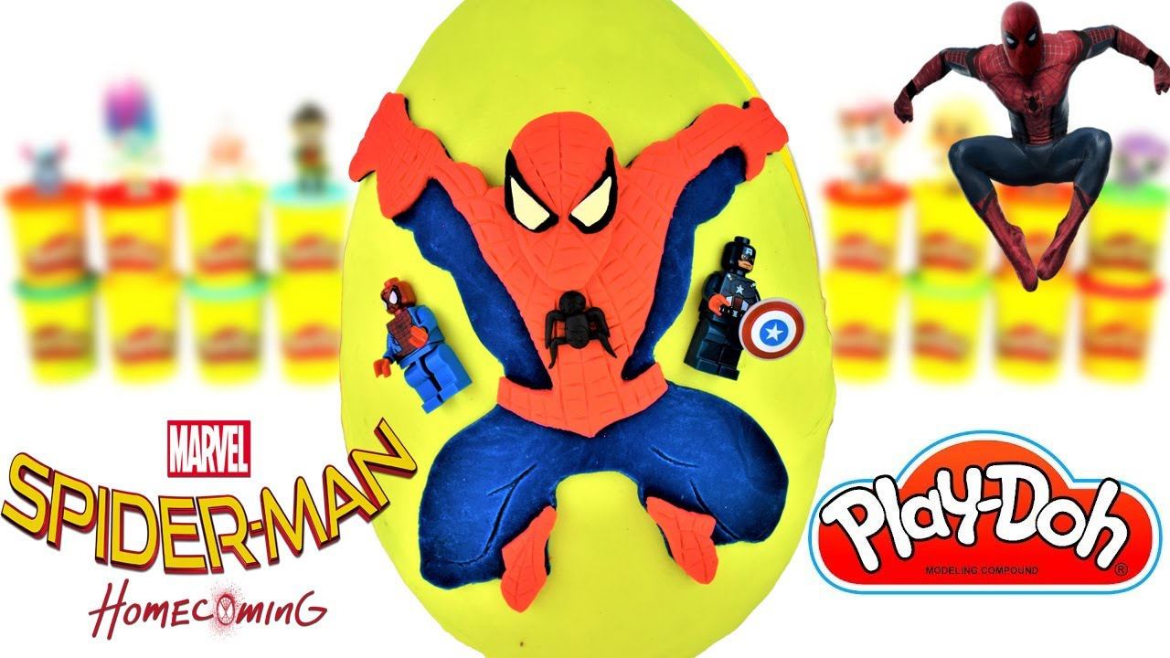 Huevo Sorpresa Gigante de SpiderMan Homecoming de Plastilina